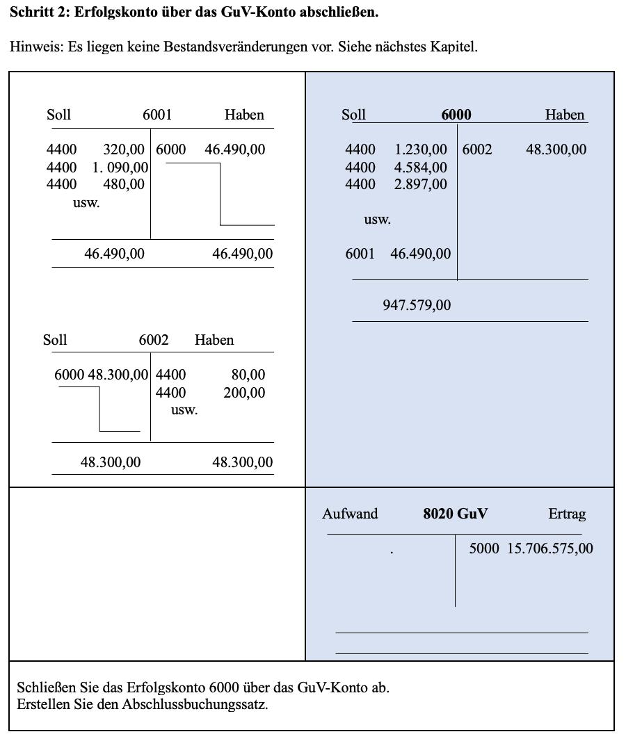 Buchführung- Unterkonten 6001 Schritt 2